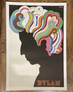 """Artist Milton Glaser created some of the most iconic images of the last 40 years, including this psychedelic design which was included with a 1966 Bob Dylan album """"Greatest Hits-Volume 1."""" Milton Glaser, Retro Poster, Vintage Posters, Vintage Graphic, Moma, Bob Dylan Poster, Ramses, Mickey Mouse, Islamic Paintings"""