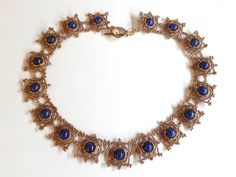 collana perline bronzo con perle giada blu, schema Sabine Lippert : Collane di tizianatar