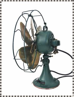 "Vintage 1920's 16"" Emerson Electric Oscillating 3 Speed 6 Brass Parker Blade Fan 