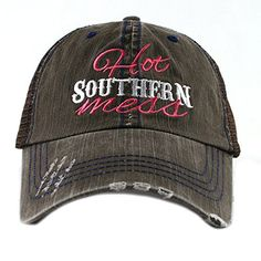 """""""Hot Southern Mess"""" hat designed by Katydid. This trucker cap is embroidered and has a curved bill. The distressed cap gives it a worn look. It has an adjustable tab with mesh cotton and 2 Ladies Boutique, Boutique Clothing, Southern Charm Clothing, Country Hats, Wholesale Hats, Denim Cap, Online Clothing Boutiques, Beanie Hats, Hats For Women"""
