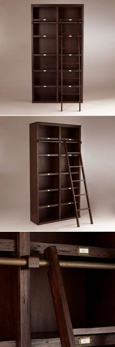 "WANT IT :: Augustus Library Shelf :: $699.99 (+ 150 delivery) | Cost Plus World Market :: [47""w, 16""d, 90""h; Shelf: 16.75"" ea.] Espresso-finished solid rubberwood w/ veneer. 6 shelves, 12 cubbies, Augustus ladder sold seperately (129.00), Assembly required. :: Love the style of this bookcase. I just wish it was more of a barn wood color."