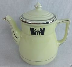 Vintage HALL CHINA SILHOUETTE MEDALLION Coffee Pot  #HALLCHINA