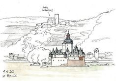 Pfalz by gerard michel Landscape Architecture Drawing, Watercolor Architecture, Landscape Drawings, Sketches Of Love, Drawing Sketches, Art Drawings, Travel Sketchbook, Art Sketchbook, City Drawing