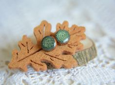 Green ear studs wooden studs posts wood post by MyPieceOfWood