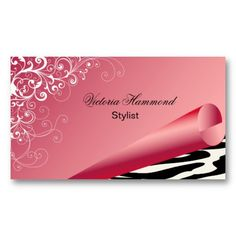 Gray and pink nanny custom business card nanny aupair childcare elegant pink with zebra print business card reheart Choice Image