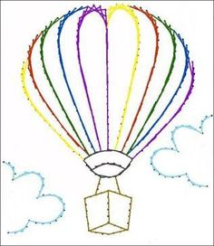 Hot Air Balloon Paper Embroidery Pattern for Greeting Cards, Tin Punch Pattern: