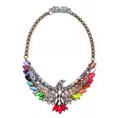 Shourouk Neon Rainbow Phenix Simple Necklace