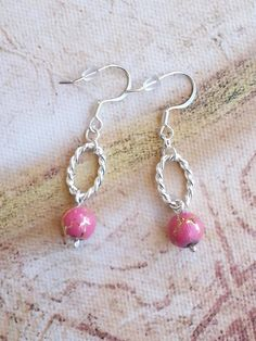 Earrings - $15 - Pink and Gold Glass Beads, Silver Oval Links, Handmade Artisan Jewelry, Modern Contemporary Style, Affordable Everyday Fashion
