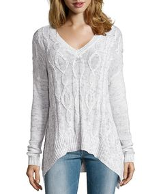 marled blue cable knit 'Aztec' long sleeve hi-low hem sweater