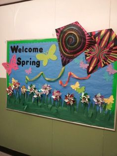 <b>Spring bulletin board</b> idea. Could do book covers for kites.