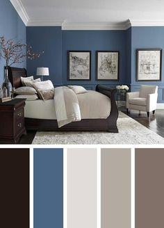 Room Color Ideas Bedroom, Best Bedroom Colors, Bedroom Color Schemes, Home Color Schemes, Interior Color Schemes, Paint Ideas For Bedroom, Colors For Bedrooms, Navy Bedrooms, Home Painting Ideas
