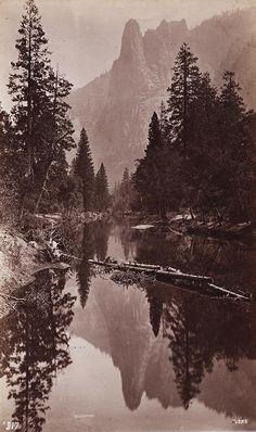 GEORGE FISKE  1835 - 1918 Mirror View of Sentinel Rock. 3270 feet. ca. 1880s