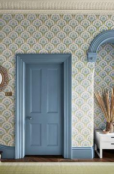 Little Greene: Hencroft - Blue Primula Hallway Blue Hallway, Hallway Colours, Modern Hallway, Little Greene Paint Company, Victorian House Interiors, Victorian Homes, Modern Victorian, Victorian Decor, Luxury Wallpaper