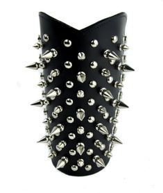 Gauntlet Skull Crossbone Head Genuine Leather 3 Buckle Punk Gothic Thrash Metal
