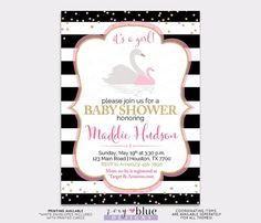 Swan Baby Shower Invitation - It's a Girl Storybook Baby Sprinkle - Pink Gold Black White Swan Princess Invite- Summer Baby- Printable File