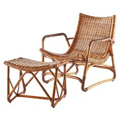 The perfect chair to make a low profile statement woven from beautiful skin on rattan core with a natural finish. No cushion needed, put your feet up. Finely woven rattan core with skin is woven over a rattan pole frame with a complete woven seat with rattan wrappings on the joint. Sold as a set- Lounge chair and Ottoman.