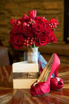 Lots of red in this Estes Park wedding (image by dash-photography.net)