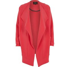 Red draped waterfall coat