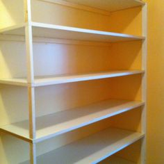 DIY pantry or storage shelving. Precut melamine shelves + 1x2s glued and nailed to the wall for support.