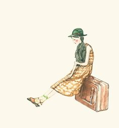 Girl waiting with suitcase