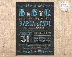 Vintage Chakboard BBQ Baby Shower Invitations with old fashioned fonts, poster style design, chalkboard blackboard background perfect for a western theme baby shower or birthday party. #babyshowerinvitations #partyinvitations #babyshower #diypartyprintables #printableinvitations #birthdaypartyinvitations #blackboardinvitations #chalkboardinvitations