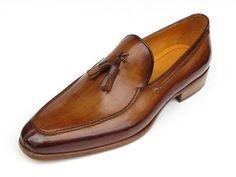 Paul Parkman Men's Tassel Loafer Camel & Brown Hand-Painted Shoes (Id Sock Shoes, Men's Shoes, Shoe Boots, Dress Shoes, Dress Clothes, Mens Tassel Loafers, Loafers Men, Brogues, Tan Shoes Men