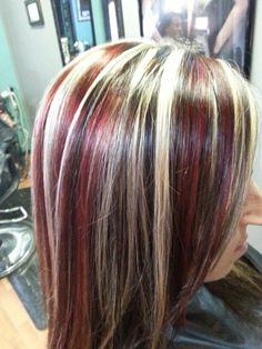 Red blonde and black hair color highlights *All About You* Hair by Brandy Bilbrey 615-792-8817