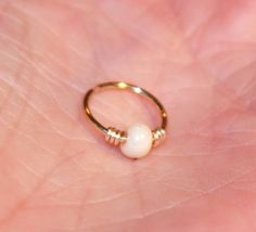 Small Nose Ring Free Shipping White Beaded Nose by BirchBarkDesign, $9.95