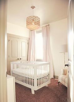 cream and gold elegant classic baby girl nursery room chandelier in gold