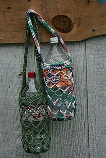 water bottle holder - don't know how to crochet, but if I did, I'd make myself one of these ...
