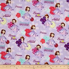 Disney Sofia the First Sofia Hero Princess Lavender from @fabricdotcom  Designed by Disney and licensed to Springs Creative Products, this cotton print fabric is perfect for quilting, apparel and home decor accents. Due to licensing restrictions, this item can only be shipped to USA, Puerto Rico, and Canada. Colors include black, brown, shades of purple, pink, aqua, peach, natural, lime green and white.