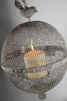 "7"" Wire Mesh Globe Bird Cloche Hanging Candle Holder $21"