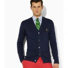 92cf5a0ab Polo Ralph Lauren Suede-Patch Merino Cardigan Sweater in Navy Sale