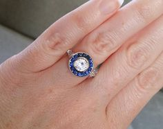 Antique Sapphire and Diamond Ballerina Antique Engagement Ring