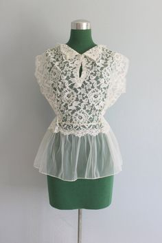Vintage Blouse / 1950s White Lace Peplum Blouse / by HolliePoint, $44.00