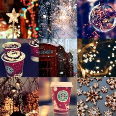 Winter collage photography drinks lights outdoors winter snow collage holidays christmas