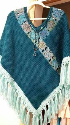 Diy Crafts - Poncho is original design by me. It is a green/bluish color called Pagoda in Carons simply soft yarn. The fringe is Robins egg. Cardigan Au Crochet, Crochet Cape, Poncho Shawl, Crochet Poncho Patterns, Crochet Shawls And Wraps, Crochet Cardigan, Knitting Patterns, Knit Crochet, Capelet