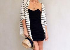 Black dress, striped cardigan