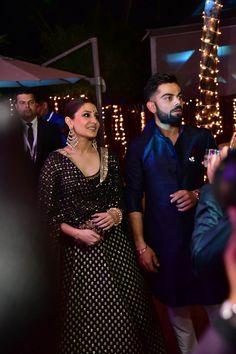 We saw Anushka Sharma and Virat Kohli head to Goa to attend the wedding ceremony of Yuvraj Singh and Hazel Keech. Bollywood Couples, Bollywood Celebrities, Bollywood Fashion, Bollywood Stars, Anushka Sharma Virat Kohli, Virat And Anushka, Indian Dresses, Indian Outfits, Black Lehenga