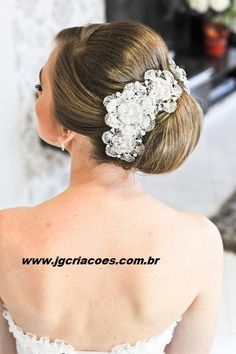 Tiara de noiva de crochê de metal