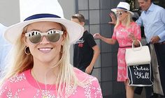Reese Witherspoon dons slimming frock and totes $185 Draper James bag