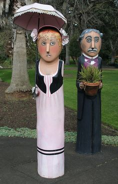 Geelong  - waterfront walk with carved and painted bollards, Victoria, AUSTRALIA
