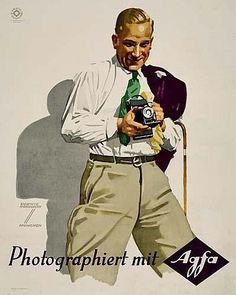 POSTER: LUDWIG HOHLWEIN (1874-1949) AGFA. Circa 1935. 19x15