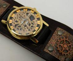 Steampunk Armbanduhr. Männer beobachten. Quarz-Uhr. von slotzkin