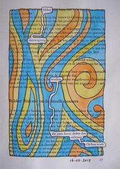 Boeksel 20120216 Struiken, Altered books, book art, altered pages, boekkunst, bookart, boeksel, boeksels, boekselen