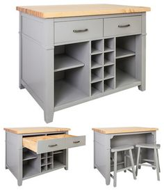 Lyn Design Kitchen Island With 2 Saddle Stools, Gray - transitional - Kitchen Islands And Kitchen Carts - Corbel Universe