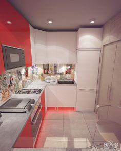 Дизайн-проект малогабаритной кухни: интерьер, зd визуализация, квартира, дом, кухня, современный, модернизм, 0 - 10 м2, интерьер #interiordesign #3dvisualization #apartment #house #kitchen #cuisine #table #cookroom #modern #010m2 #interior arXip.com