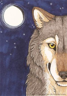 Wolf's moon ACEO by *CunningFox on deviantART