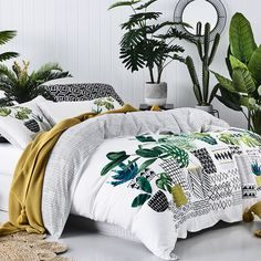 Cute stylish spring style pot plant bed spread with yellow accents <3
