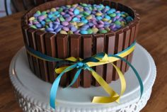 Super cute and easy Easter cake - using cake, Kit Kats, and m's.